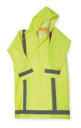 Raincoat w/Detach Hood, HiVis Ylw/Grn, 4XL
