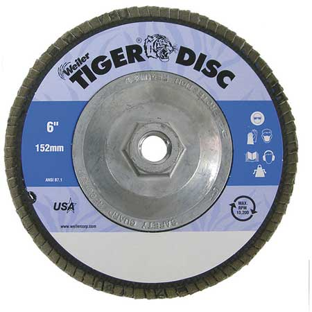 Arbor Mount Flap Disc,  6in, 40, Coarse