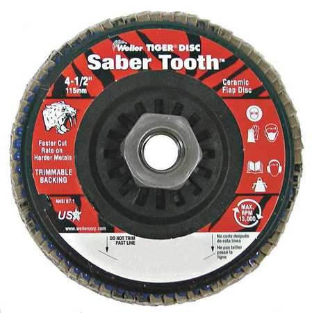 Arbor Mount Flap Disc, 4-1/2in, 40, Coarse