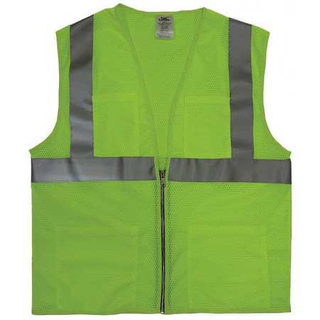 3XL Class 2 Cool Dry High Visibility Vest,  Lime