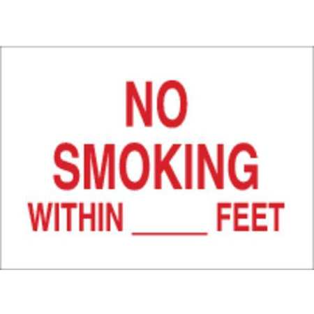 No Smoking Sign, 14 x 20In, R/WHT, ENG, Text