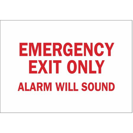 Emergency Exit Fire Sign, 7 x 10In, R/WHT