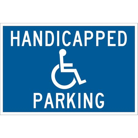 Parking Sign, 12 x 18In, WHT/BL, G-42, HDCP