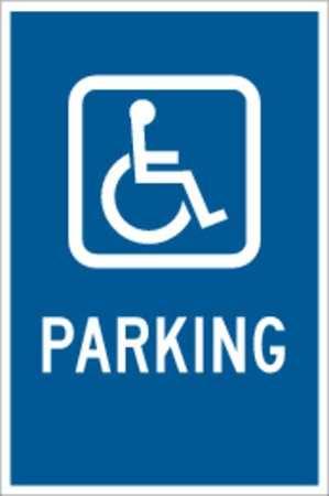 Parking Sign, 18 x 12In, WHT/BL, PRKG, HDCP