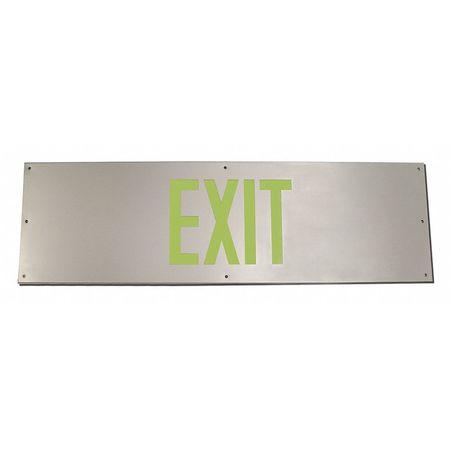 Door Kick Plate Exit Sign, 10Hx34W, Alum