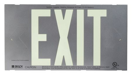 Exit Sign, 8-1/4 x 15In, GRN/SIL, Exit, ENG