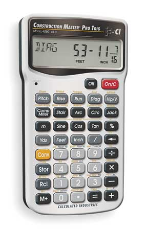 Construction Calculator, 6 Lx3 1/4 In W