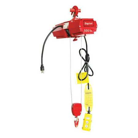 Wire Rope Hoist, Single, 500 lb.