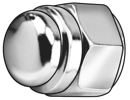"7/16""-14 Grade 2 Steel Chrome Plated Finish Flat Top Acorn Nuts,  5 pk."