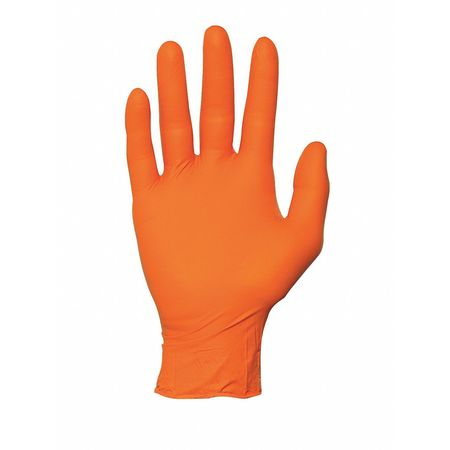 Disposable Gloves, Nitrile, 2XL, Orange, PK100