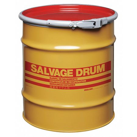 Salvage Drum, Open Head, 20 gal., Yellow