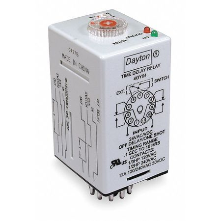 Time Delay Relay, 24VAC/DC, 12A, DPDT