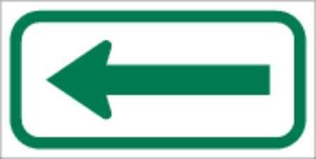 Parking Sign, Left Arrow, 6x12In, GRN/WHT