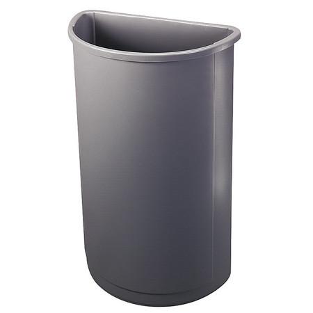 21 gal. Gray Half Round LLDPE Half-Round Trash Can