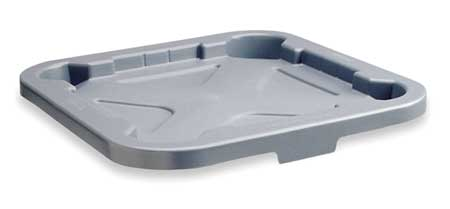 Trash Can Top, Flat, Snap-On Closure, Gray