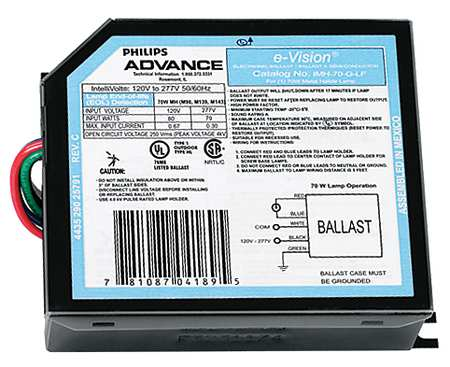 PHILIPS ADVANCE 70 W,  1 Lamp HID Ballast