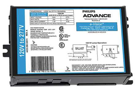 PHILIPS ADVANCE 150 W,  1 Lamp HID Ballast
