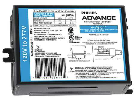 PHILIPS ADVANCE 100 W,  1 Lamp HID Ballast