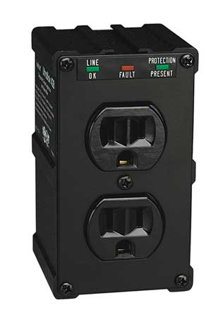 Surge Protector, 15A, 2 Outlet, Black