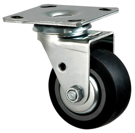 Swivel Plate Caster, Therm Rubber, 4 in, 300 lb