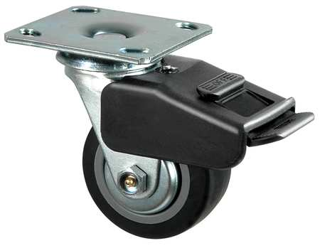 Swivel Plate Caster, Therm Rubber, 5 in, 325 lb, Blk