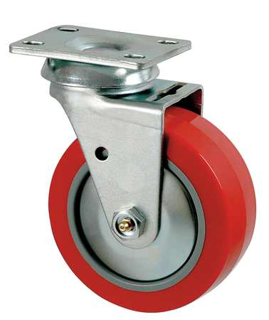 Swivel Plate Caster, Poly, 5 in., 650 lb., C
