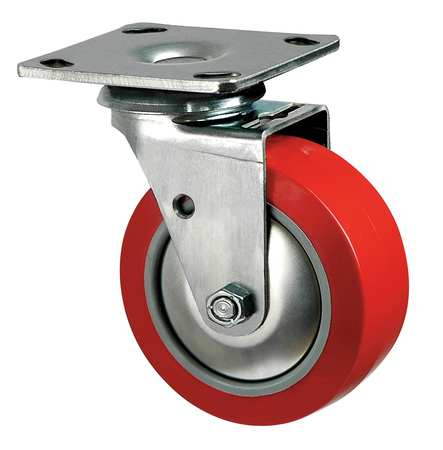 Swivel Plate Caster, Poly, 4 in., 600 lb, Rd