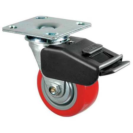 Swivl Plate Castr, Poly, 6 in., 700 lb., Red