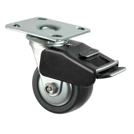 Swivl Plate Caster, Poly, 6 in., 700 lb, Blk