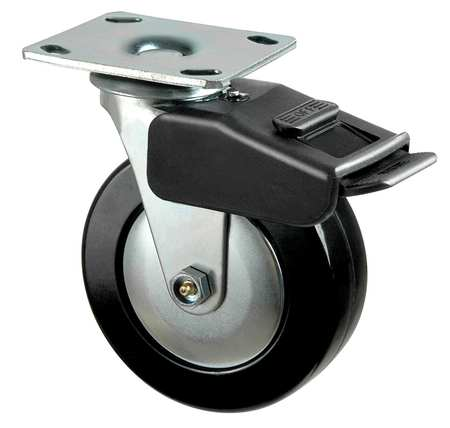 Swivel Plate Caster, Phenolic, 5 in, 650 lb