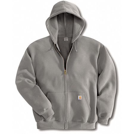 Hooded Swtshirt, Hthr Gray, Cotton/PET, XL