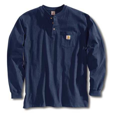 Long Sleeve Henley, Navy, 2XL