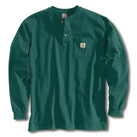 Long Sleeve Henley, Hunter Green, 2XL