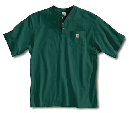 Short Sleeve Henley, Hunter Green, M