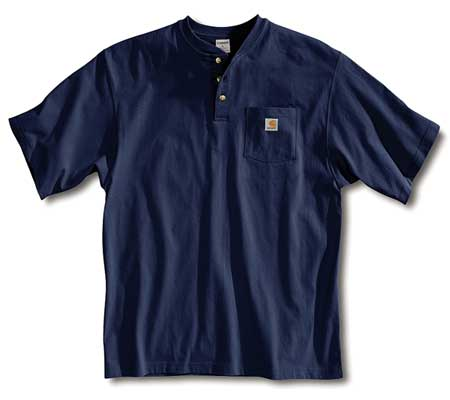 Short Sleeve Henley, Navy, XL