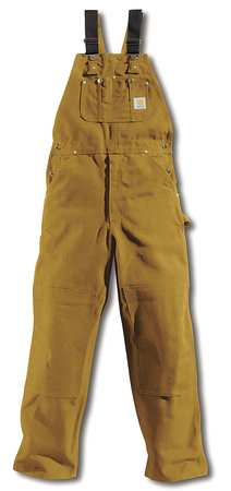 Bib Overalls, Brown, Size 34x28 In