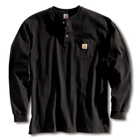 Long Sleeve Henley, Black, XL