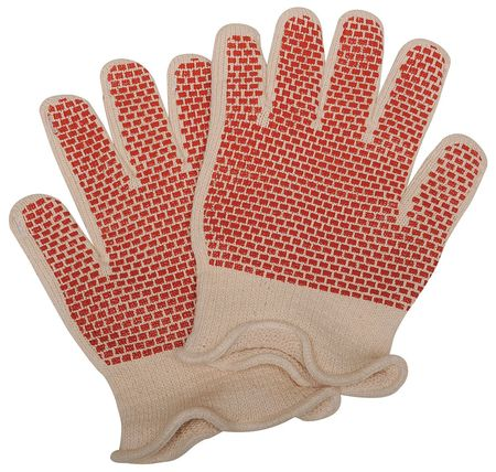Heat Resistant Gloves, White/Rust,  L, PR