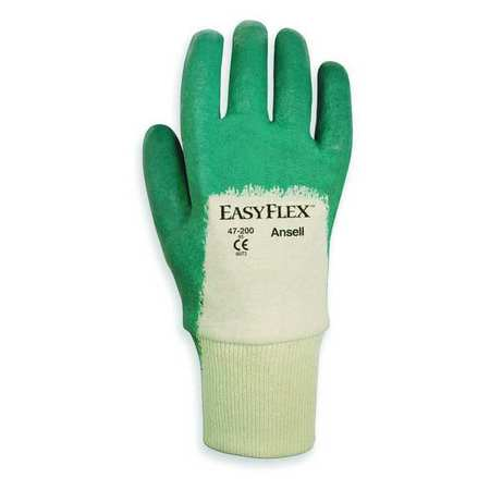 Coated Gloves, 7/S, White/Green, PR