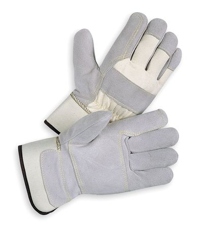 Leather Gloves, Split/Double Palm, L, PR