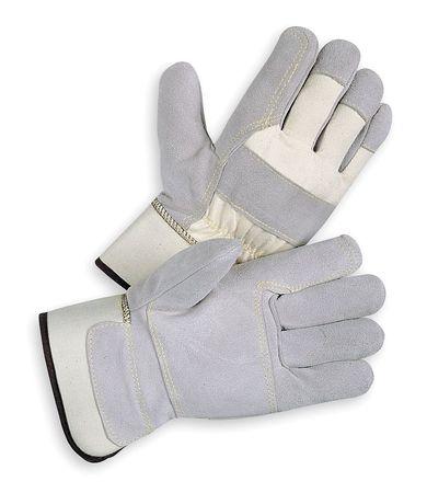Leather Gloves, Split/Double Palm, L, PR