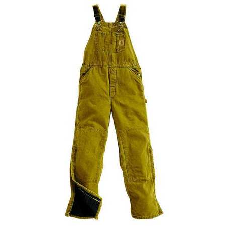 Bib Overalls, Brown, Size 46x30 In