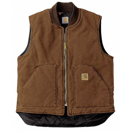 Vest, 2XL Regular, Brown, Zipper