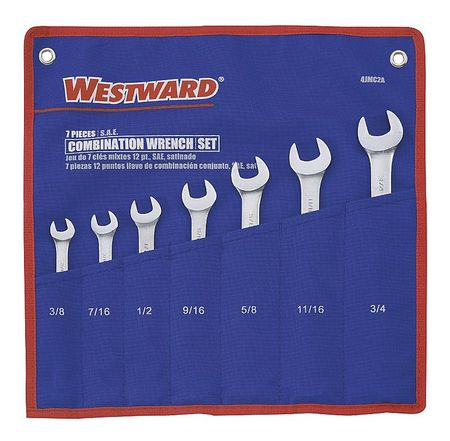 Combo Wrench Set, Antislip, 3/8-3/4 in, 7Pc