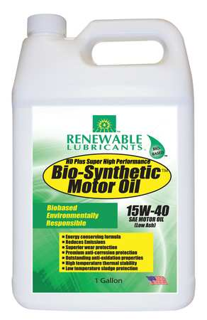 Engine Oil, Bio-Synthetic, 1 Gal., 15W40