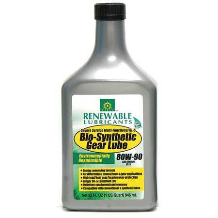 Gear Oil, Bio-Synthetic, 1 Qt., 80W90