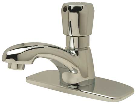 Metering Bathroom Faucet Standard Spout,  Chrome,  3 Holes,  Push Handle