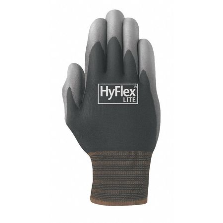 Polyurethane Coated HyFlex Lite Gloves,  Black/Gray,  Size 10
