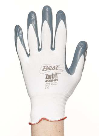 Coated Gloves, S, Gray/White, Nitrile, PR