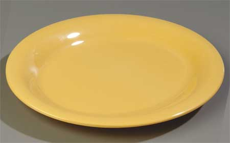 "Round Pie Plate,  6-9/16"",  Melamine,  Honey Yellow PK48"